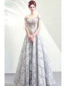 Formal Grey Lace Ballgown Tulle Fairy Prom Dress With Off Shoulder