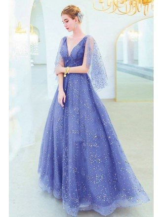 Bling Bling Blue Sequins Formal Tulle Prom Dress Vneck With Cape Sleeves