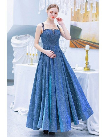 Sparkly Blue Aline Metallic Party Dress Long With Beaded Straps