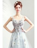 Pretty Grey Floral Long Tulle Prom Dress With Train