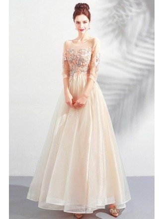 Champagne Organza Maxi Long Prom Dress Illusion Neck 3/4 Sleeves