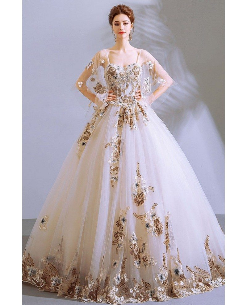 Formal Big Ballgown White Pageant Gown With Luxe Embroidery Puffy Sleeves Wholesale T79068 Gemgrace Com