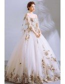Formal Big Ballgown White Pageant Gown With Luxe Embroidery Puffy Sleeves