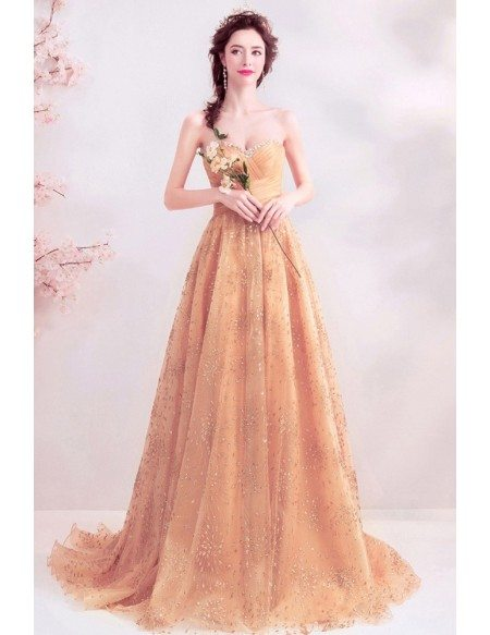 Sparkly Gold Sweetheart Long Formal Dress With Pleated Top