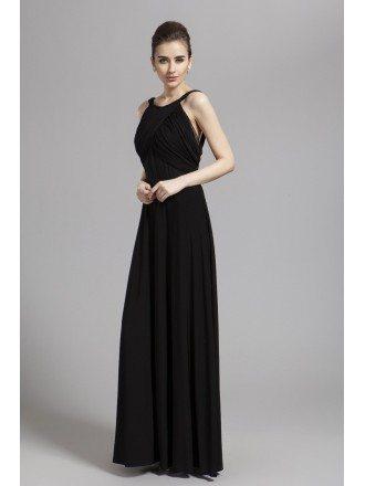 Elegant A-Line Black Chiffon Evening Dress With Open Back