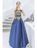 Strapless Navy Blue With Gold Embroidery Prom Dress With Sash