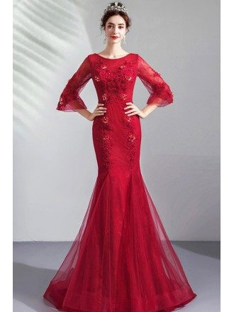 Burgundy Red Mermaid Wedding Party Dress With 3/4 Sleeves Embroidery