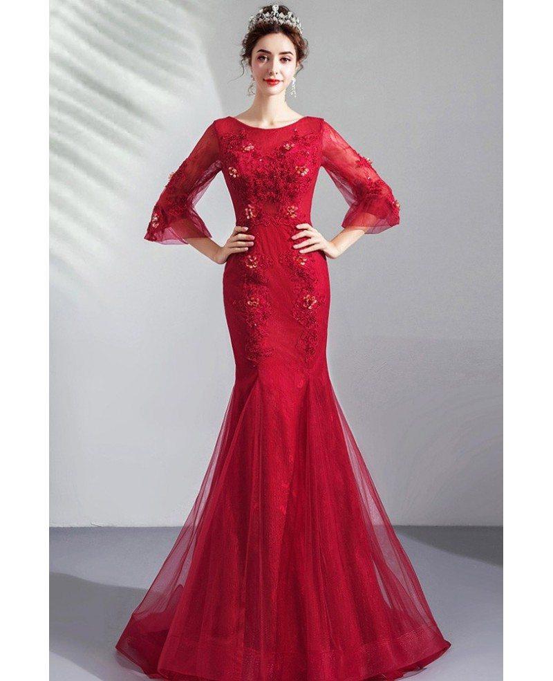 Burgundy Red Mermaid Wedding Party Dress With 3 4 Sleeves