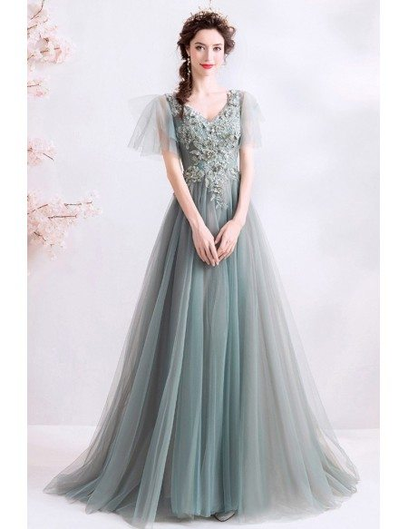 Special Sage Green Aline Tulle Beaded Prom Dress With Puffy Sleeves