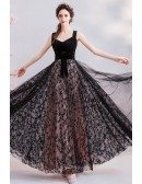 Long Black Tulle Star Lace Prom Party Dress With Straps Sash