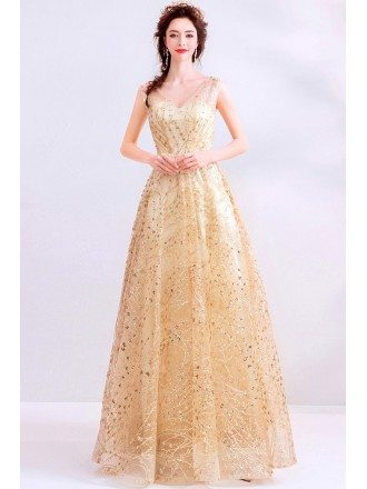 Sparkly Gold Aline Long Prom Dress Vneck With Bling Sequins