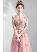 Special Pink High Neck Long Sleeve Prom Party Dress With Sheer Top