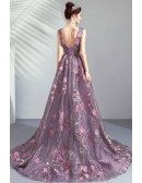 Romantic Roses Purple Tulle Vneck Prom Dress With Train