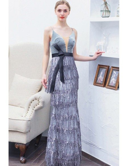 Silver Sequin Tassels Long Party Dress Vneck With Sash Straps