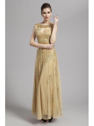Special Champagne A-Line Tulle Long Dress With Appliques Lace