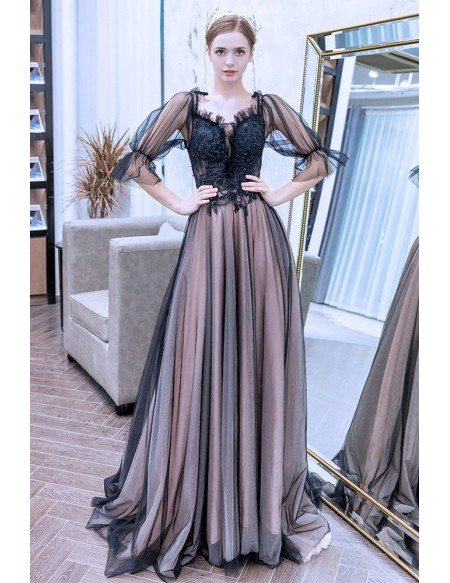 Elegant Black Tulle Long Prom Dress With Bubble Half Sleeves