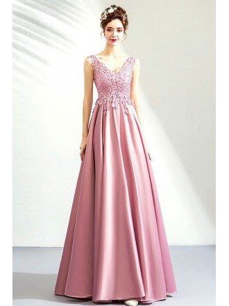 Rose Pink Satin Lace Top Long Party Prom Dress Vneck Sleeveless