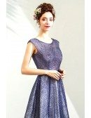 Bling Sparkly Blue Long Prom Party Dress With Modest Round Neck