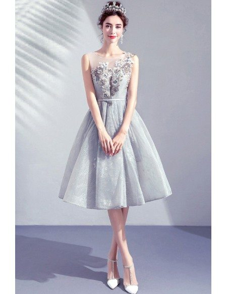 Pretty Grey Lace Knee Length Short Prom Dress With Embroidery Flowers