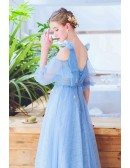 Fairy Blue Lace Prom Dress With Leaf Cold Shoulder Sleeves