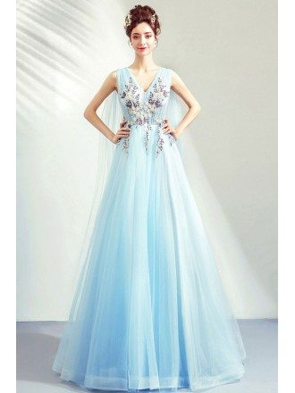 Dreamy Light Blue Aline Tulle Prom Dress Vneck With Cape