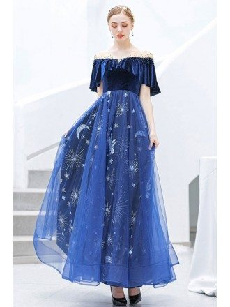 Royal Blue Shining Star Prom Party Dress With Off Shoulder Sleeves