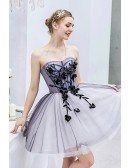 Blue Short Tulle Ballgown Prom Hoco Dress Sweetheart With Embroidery