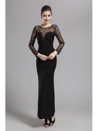 Modest Sheath Black Chiffon Lace Evening Dress With Long Sleeves