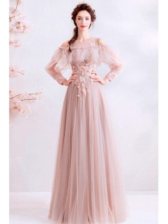 Dusty Pink Aline Tulle Fairy Long Sleeve Prom Dress With Beaded Flowers