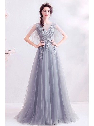 Formal Long Grey Tulle Prom Dress With Puffy Tulle Sleeves