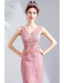 Fitted Mermaid Tulle Vneck Prom Party Dress Sleeveless With Beading