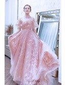 Bling Sequins Embroidery Cute Pink Prom Dress With Puffy Sleeves