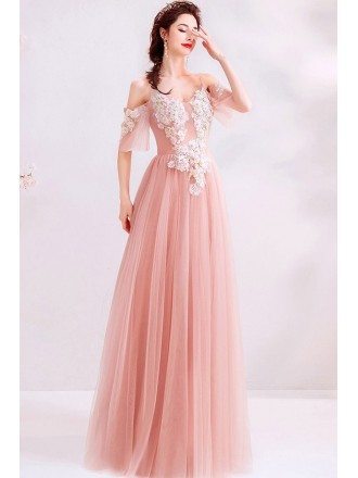 Pretty Pink Tulle Aline Prom Dress With Petals Straps