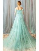 Fairy Light Green Off Shoulder Flowers Prom Dress Long Tulle With Train