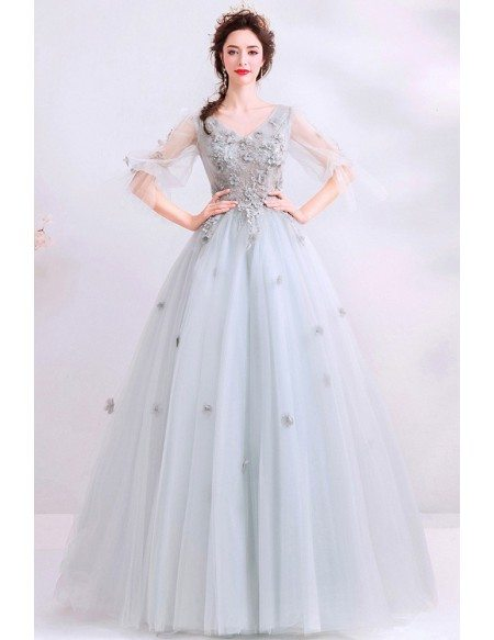 Dusty Grey Ballgown Cute Prom Dress Vneck With Puffy Sleeves