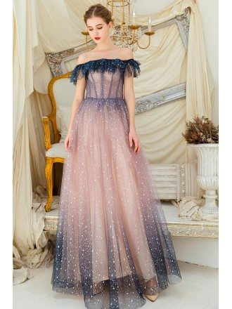 Blue With Pink Tulle Fatasy Bling Prom Dress With Sequins Off Shoulder