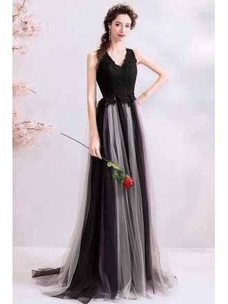 Flowy Black Tulle Aline Long Prom Dress Vneck Sleeveless