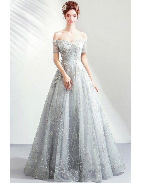 Elegant Grey Silver Sequins Long Prom Dress With Off Shoulder Sleeves