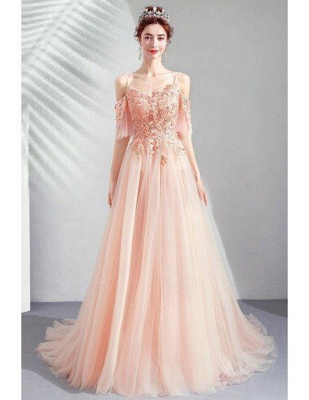 Gorgeous Pink Tulle Beaded Flowers Long Tulle Prom Dress With Train
