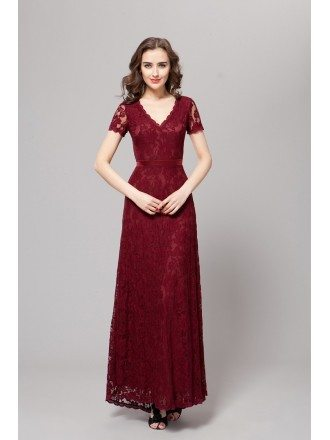 Elegant A-Line V-neck Lace Long Dress With Sleeves