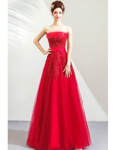 Strapless Red Lace Tulle Aline Long Party Dress With Sash