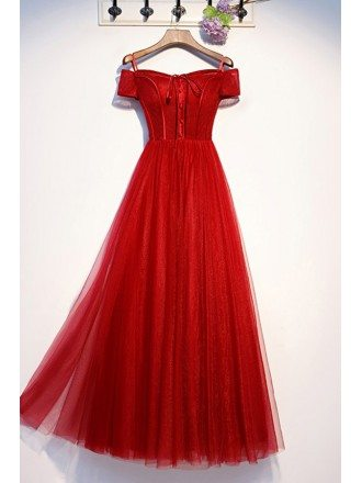 Long Red Tulle Off Shoulder Sleeve Party Prom Dress With Laceup