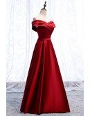Pleated Off Shoulder Neckline Satin Party Dress Aline