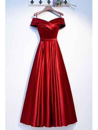 Burgundy Pleated Long Aline Prom Dress Off Shoulder