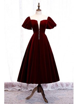 Retro Square Neck Maroon Tea Length Party Dress With Bubble Sleeves