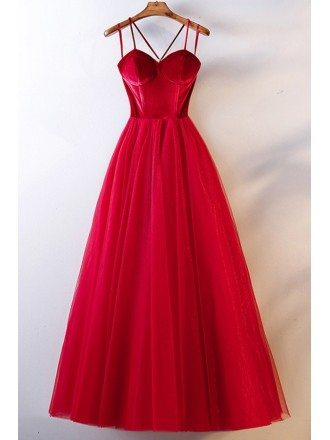 Long Red Simple Two Tone Party Dress With Spaghetti Straps