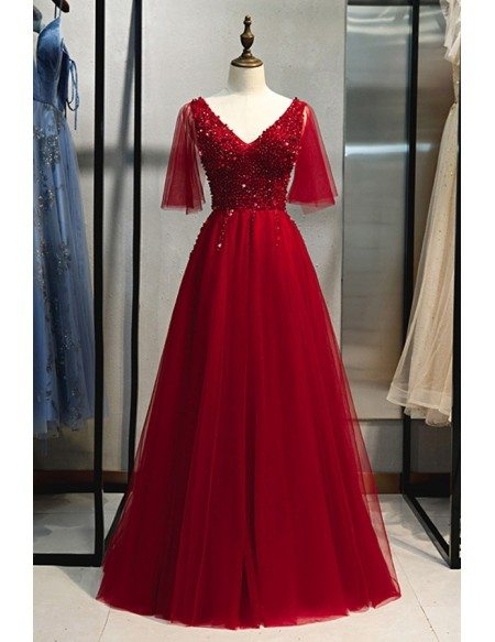 Popular Puffy Sleeves Burgundy Prom Dress Vneck With Sequins