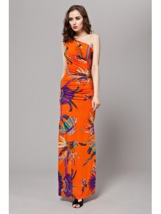Tropical One Shoulder Printed Chiffon Long Dress With Split