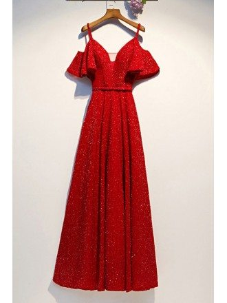 Sparkly Long Red Party Dress With Puffy Sleeves Straps