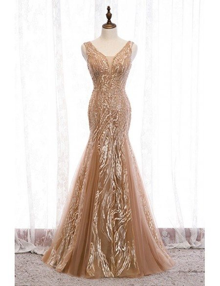 Champagne Long Tulle Sparkly Mermaid Formal Dress With Sequins